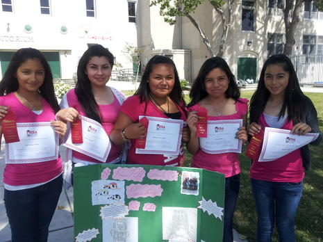 Power Puff Gurls - capt. Irma Lopez, Sara Jaime , Melissa Chavarin., Ashley Manzo and Jackeline Haro won the 1st Place Spirit award in the Robotics Challenge at USC on 5/19.